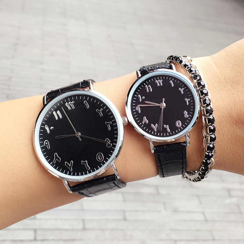 New Fashion Lover Couple Watches Men Women Quartz Clock Waterproof Unique Scale Leather Watch BGG Brand Black White Wrsitwatches hot fashion brand couple lover wrist watches red pointer simple style quartz watch men and women school clock with leather belt