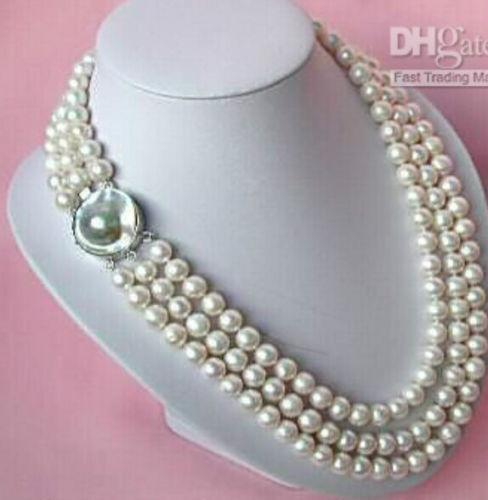 triple strands 8-9mm south seas white pearl necklace 18-22inch>>> free shipping цена