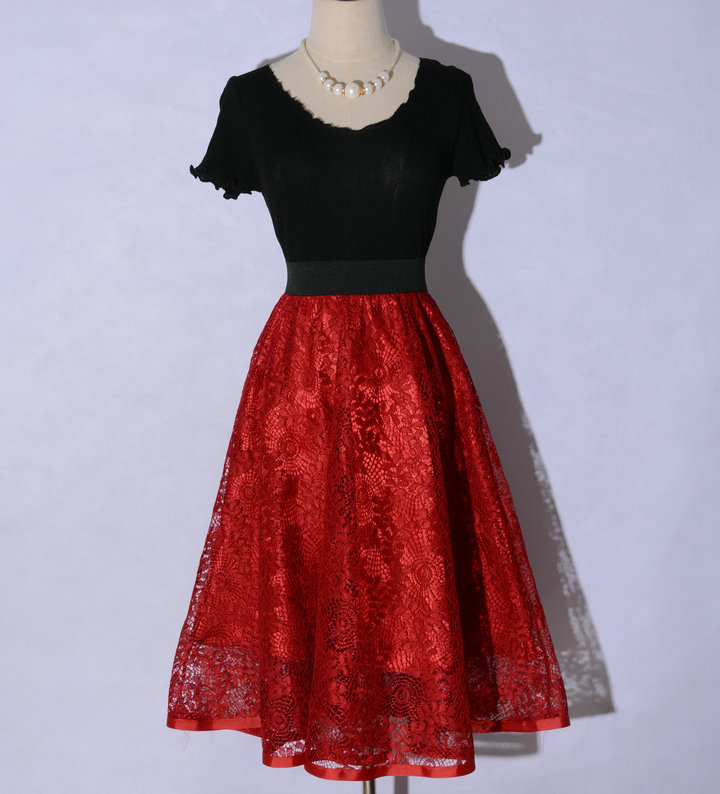 ede68f70d1 Spring was thin hollow lace long section of the retro Art skirts waist A  word tutu skirt put on a large umbrella-in Skirts from Women's Clothing &  ...