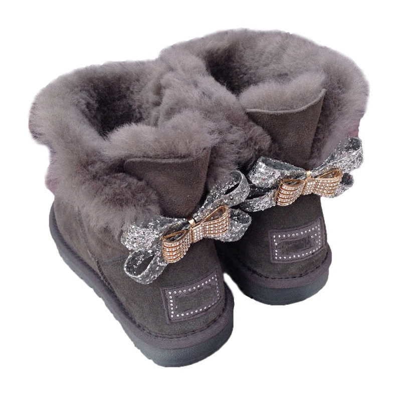 2018 Brand High Quality Women Winter Warm Genuine sheep Leather real fur boot Australia boot Two diamond Bowknots Boots 33 44