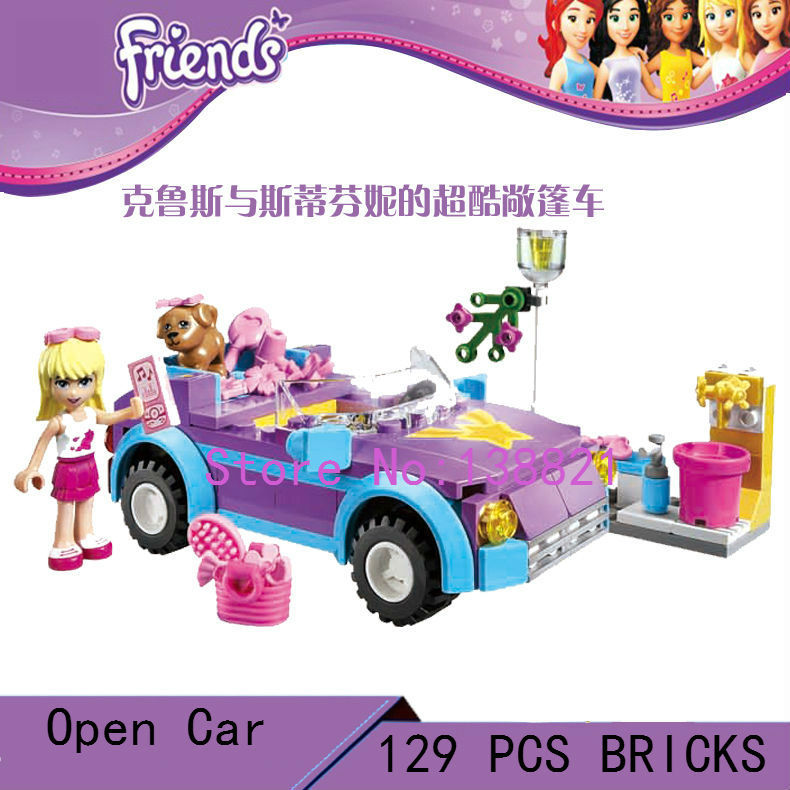 DIY Educational Toys for children CHINA brand L3183 girl open car Blocks self locking bricks Compatible