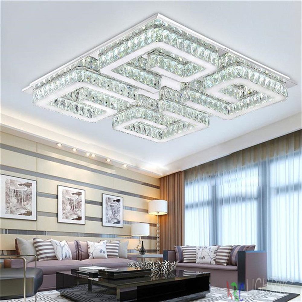 Modern Wireless Crystal LED Ceiling Lights Square Lighting Fixture Lamp  Lamparas De Techo Surface Mounted Lustres