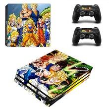 Dragon Ball skóra winylowa naklejka na konsolę Sony PS4 Pro i 2 kontrolery naklejka na akcesoria do gier
