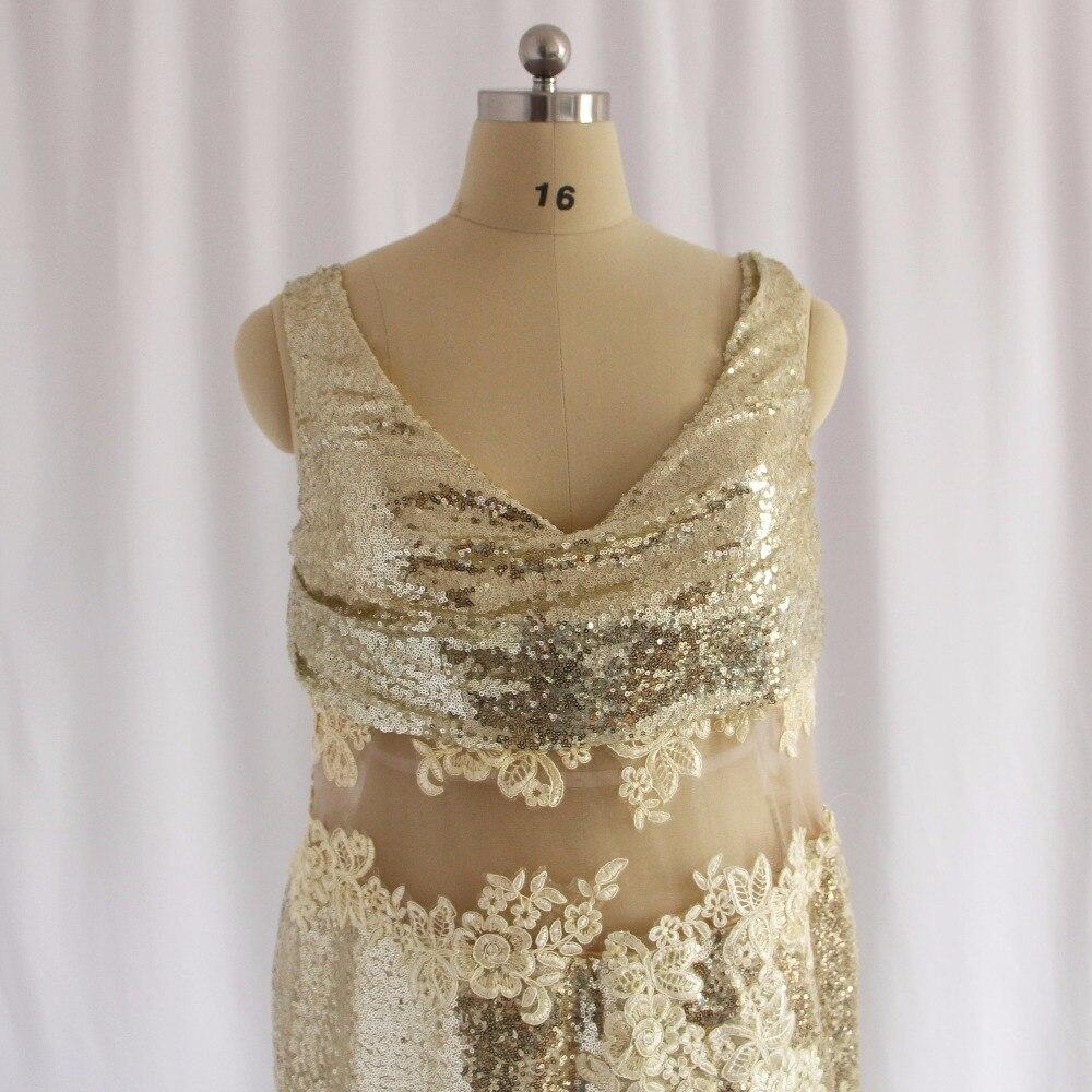 2018 goldene Hochzeit Party Kleider V ausschnitt Appliqued Spitze ...