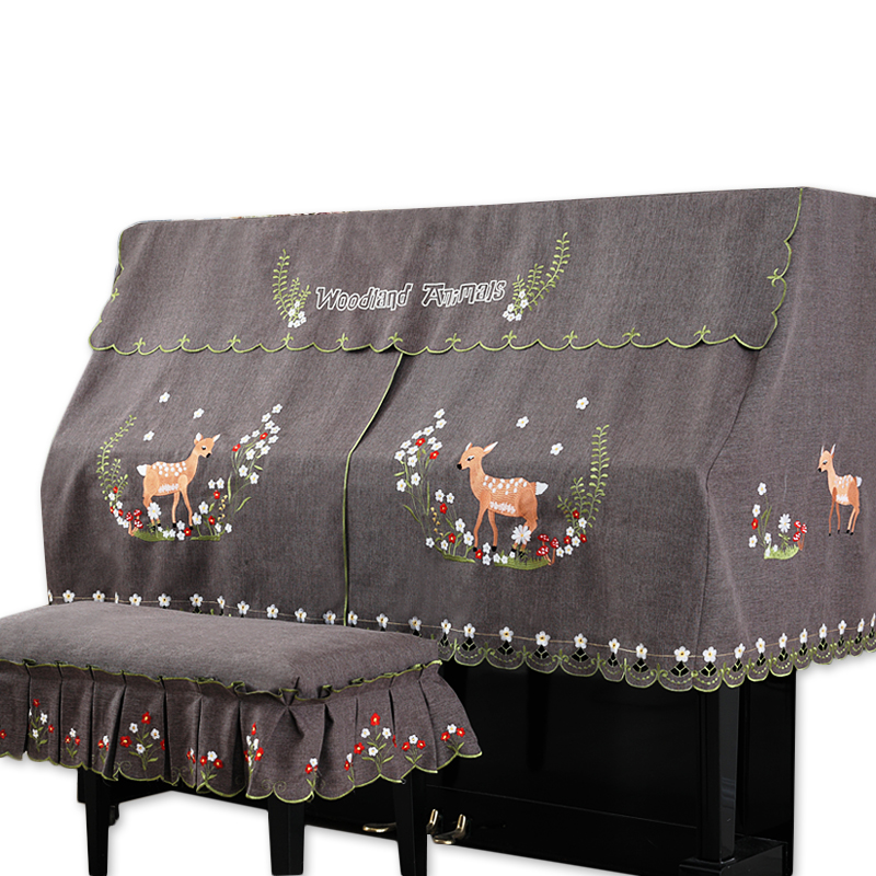 RUBIHOME 1 Set Cartoon Flower Deer Practical Full Piano Cover pleuche Decorated with Macrame for Universal Upright Vertical
