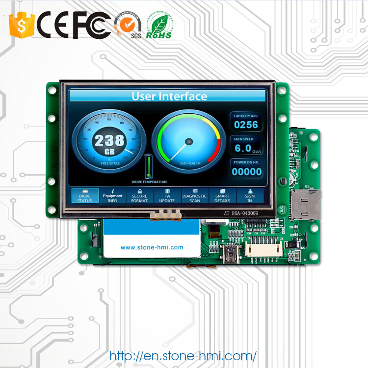 Free Shipping! 5.0 Inch HMI Monitor LCD Screen Touch Controller With RSs232 Interface