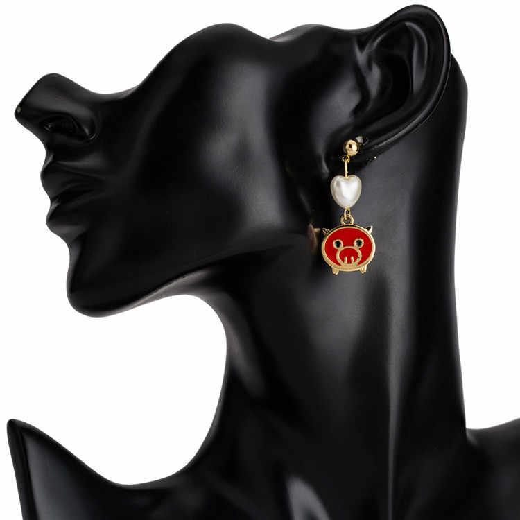 2019 ใหม่ปีสีแดงจี้หมู Dangle ต่างหูสำหรับผู้หญิงต่างหูไข่มุกหัวใจ pendientes za 2018 aretes pendientes de gota