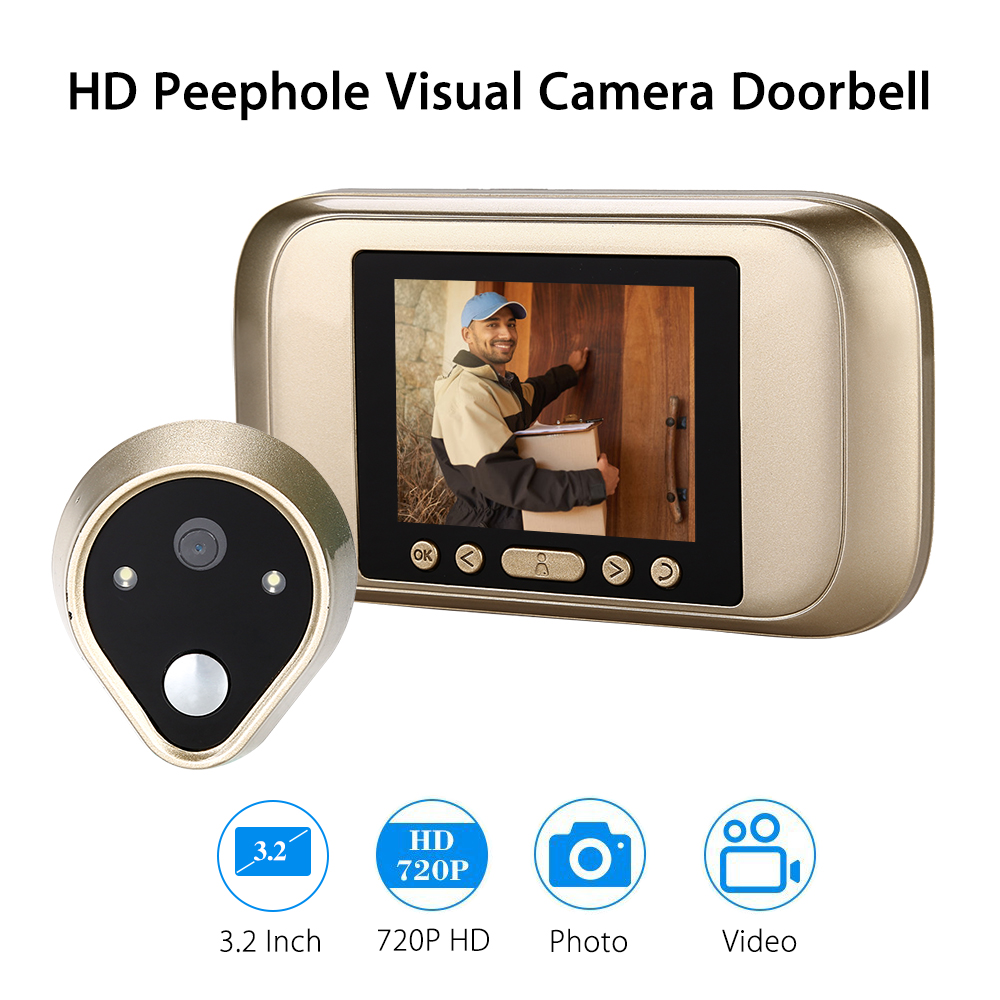 Smart IR Audio Visual Doorbell Video Home Security Peehole PIR Motion Detection Night View Doorbell RingSmart IR Audio Visual Doorbell Video Home Security Peehole PIR Motion Detection Night View Doorbell Ring