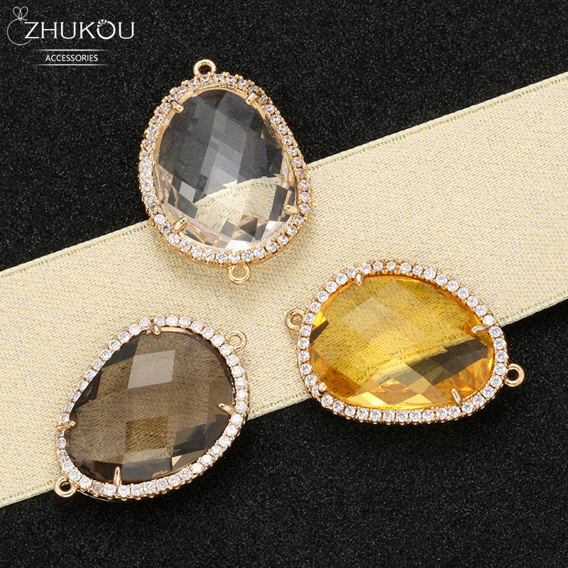 ZHUKOU 19x27mm Brass Cubic Zirconia Irregular Crystal Connectors for Necklace Handmade jewelry making findings model:VS343(China)