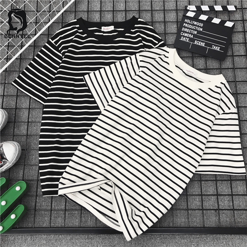 Harajuku Ulzzang Bf Striped Fashion 2018 New Short Sleeve T Shirts Women Loose T-shirt Womens Female Casual Females Korean Style