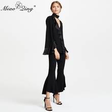 230256fb90b MIAOQING Elegant Women Shirt Tops smooth Stain Flash Black Color Blouse  Patchwork Ruffles 2018 Sexy V-neck Butterfly Sleeve