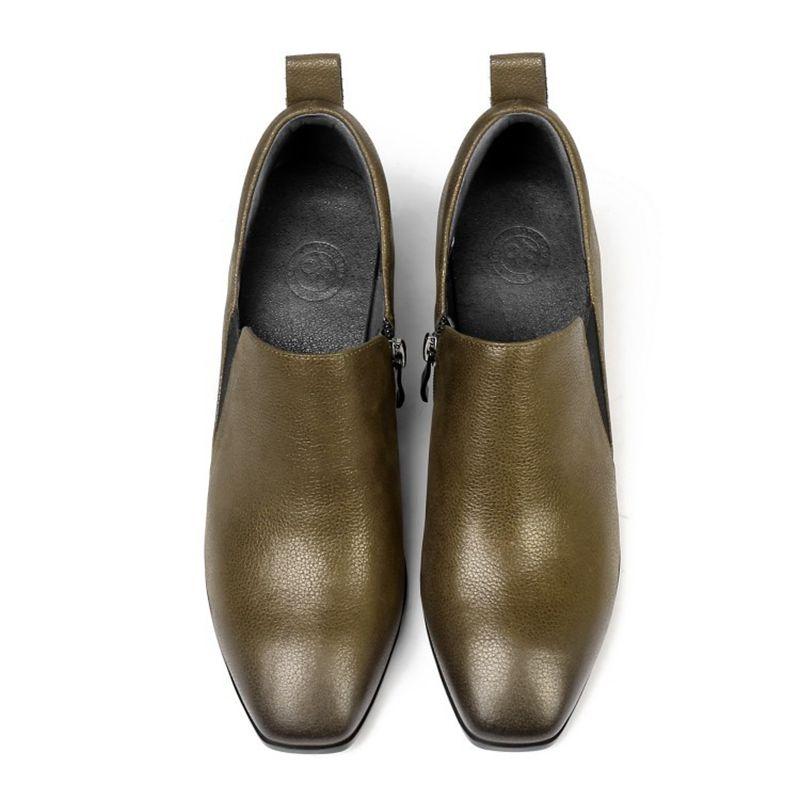 Cabeza Verde 2019 Tacón Casuales Zapatos Grueso 0324 Primavera Cuadrada De Y Otoño Ejército Mujer AtxqHt