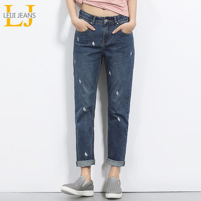 6739667fb54 2018 LEIJIJEANS Spring And Summer Plus Size Lightening Printed Mid Waist Full  Length Fashion Loose Denim Boyfriend Women Jeans
