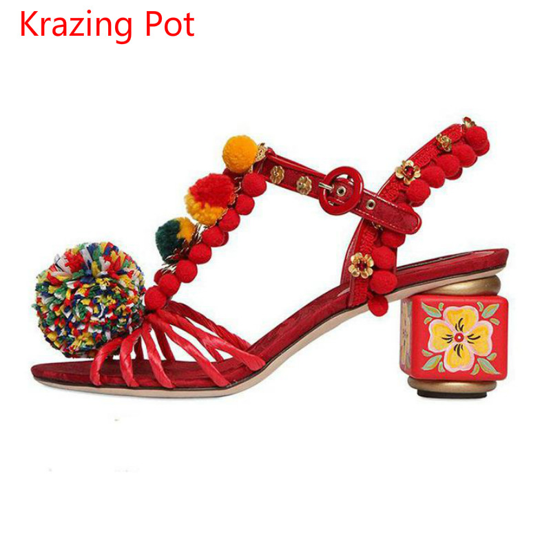 2017 Fashion Chinese Style Brand Shoes Genuine Leather Flowers Ankle Strap Buckle Women Sandals Peep Toe Crystal Luxury Shoe L71 2017 new summer fashion women casual shoes genuine leather lady leisure sandals gladiator all match ankle peep toe flowers