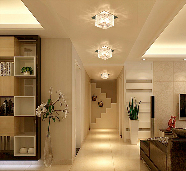 Living Room Lighting Ideas With Recessed Lights For Modern: 5W Modern Led Square Crystal Lamp Recessed Aisle Corridor