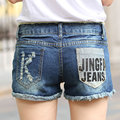 New Casual light Blue Summer curling Middle waist Lady denim shorts Hole Sexy Ripped Washes Fashion Women jean shorts Z2182