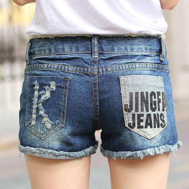 Nova luz azul verão de cintura denim shorts de buraco Sexy rasgado lava moda shorts jeans Z2182