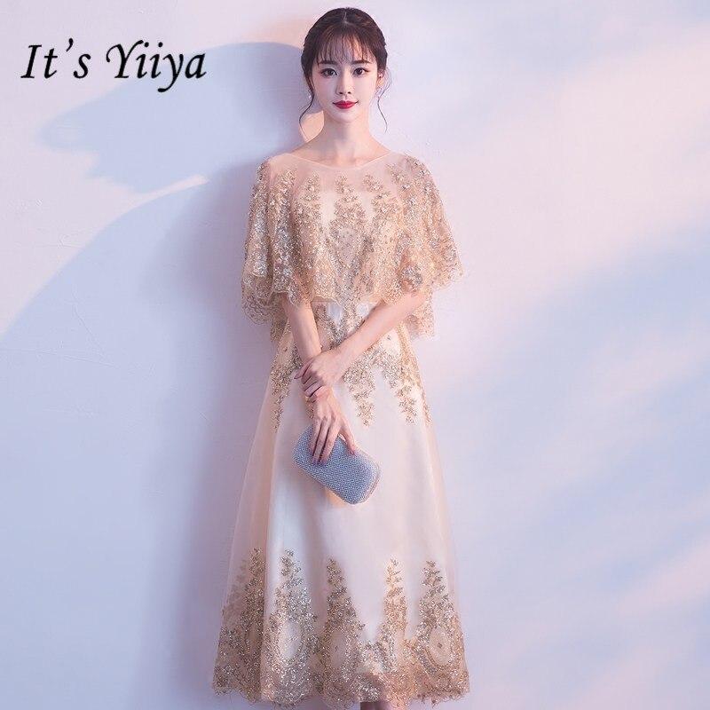 It's YiiYa O-neck Shawl Beading   Bridesmaid     Dresses   Elegant Lace Ankle-length Slim A-line Frocks H256