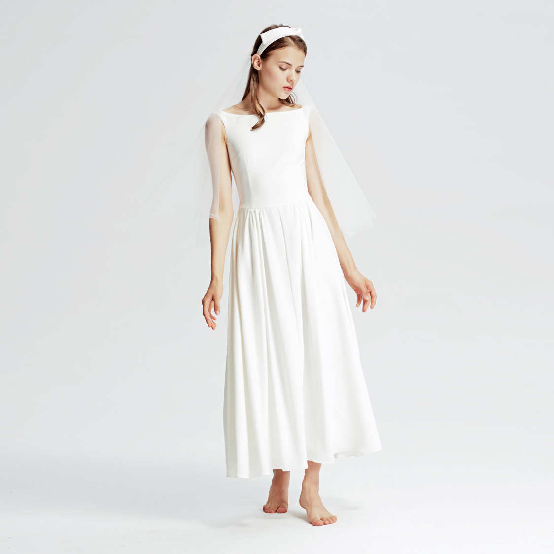 Simple Wedding Dresses Boat Neck: Vintage Boat Neck Backless Wedding Dresses Simple Pleats