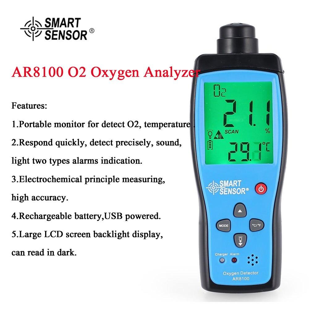 Capteur intelligent AR8100 moniteur de qualité de l'air compteur de gaz O2 analyseur de température d'oxygène analyseur portatif testeur de température thermomètre