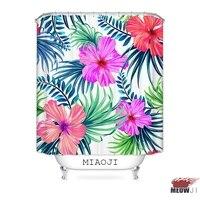 [MIAOJI] Tropical Hawaii Flowers Leaves Colorful Shower Curtain Waterproof Fabric Bathroom Screens Curtains Free Shipping