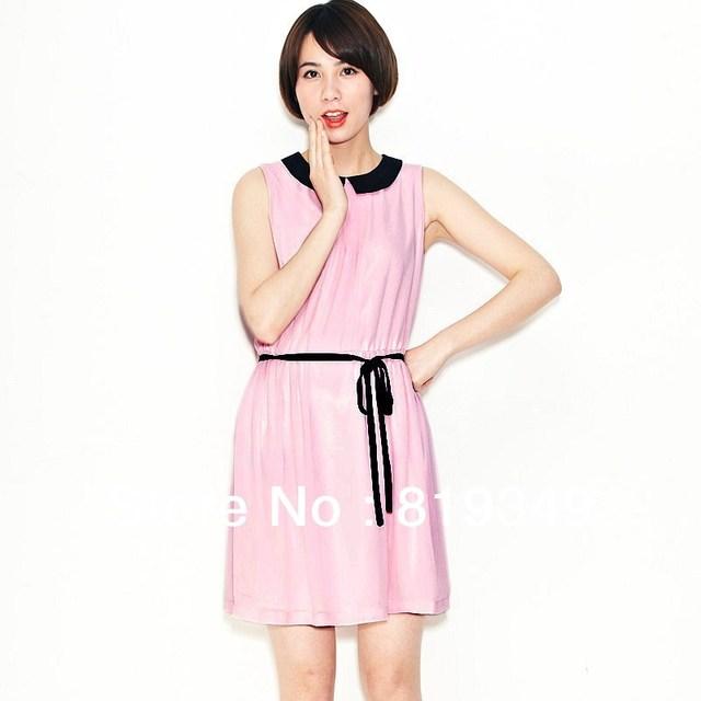 2013 NEW VANCL Women Dress Stylish Chelsea Sleeveless Midi Dress Chiffon Comfortable Wear Aqua Green/Pink FREE SHIPPING