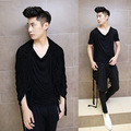 Wholesale New Male Short Sleeve T-shirt Korean Punk Style Men's Fashion Tassel Irregular Design Shawl Gothic T-shirt
