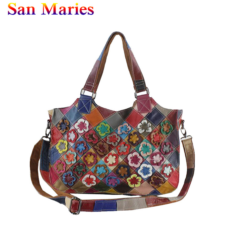 San Maries 2019 New Womens Floral Patchwork Bags Ladies European And American Colorful Genuine Leather Shoulder Bag Ladies ToteSan Maries 2019 New Womens Floral Patchwork Bags Ladies European And American Colorful Genuine Leather Shoulder Bag Ladies Tote