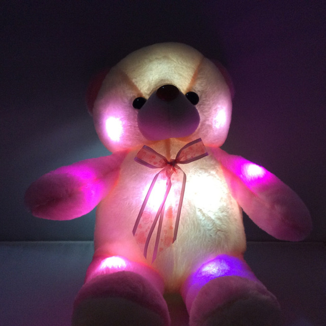 d5a8bf3e76d 50 60CM Blinking LED night lights big plush bear Size around colorful Led  lights