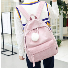 купить Backpack Women Corduroy Chic Bag Female Shoulders Bags Leisure Trend Travel School Students Bag Young Girls дешево