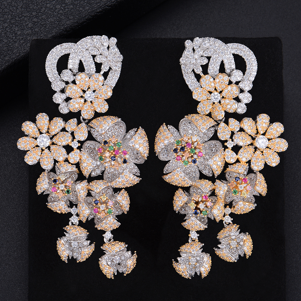 GODK 73mm Luxury Windmill Flower Blossom Cluster Cubic Zirconia Long Drop Earring For Women Wedding Party