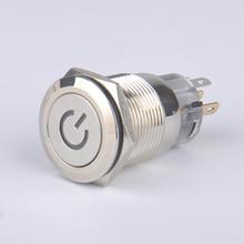 Светодио дный легкого металла кнопочный переключатель 19 мм водонепроницаемый самоблокирующимся самостоятельно установить 12 В 24 В 220 В нержавеющей оболочки символ власти