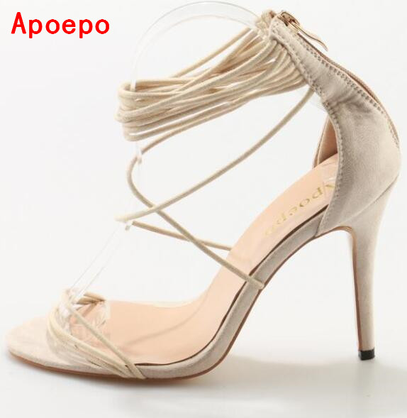 Hot Selling Beige Suede Narrow Band High Heel Sandals Cut-out Peep Toe Back Zipper Cage Shoes Woman Sexy Gladiator Sandals joymode swimsuit women 2017 push up open bust swimming bathing suit halter neck wire free printed one piece swimwear women