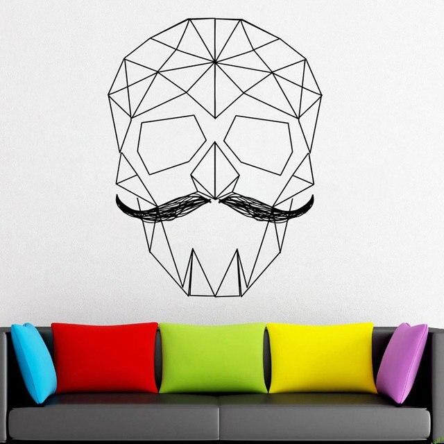 geometrical skull vinyl decal geometric wall vinyl sticker paper