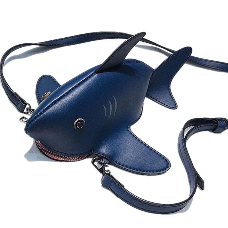 Funny Shark Shoulder Bags Cartoon Chain Messenger Bag Ladies Lovely PU leather Phone Bag Friend get Together Party Shoulder Bag