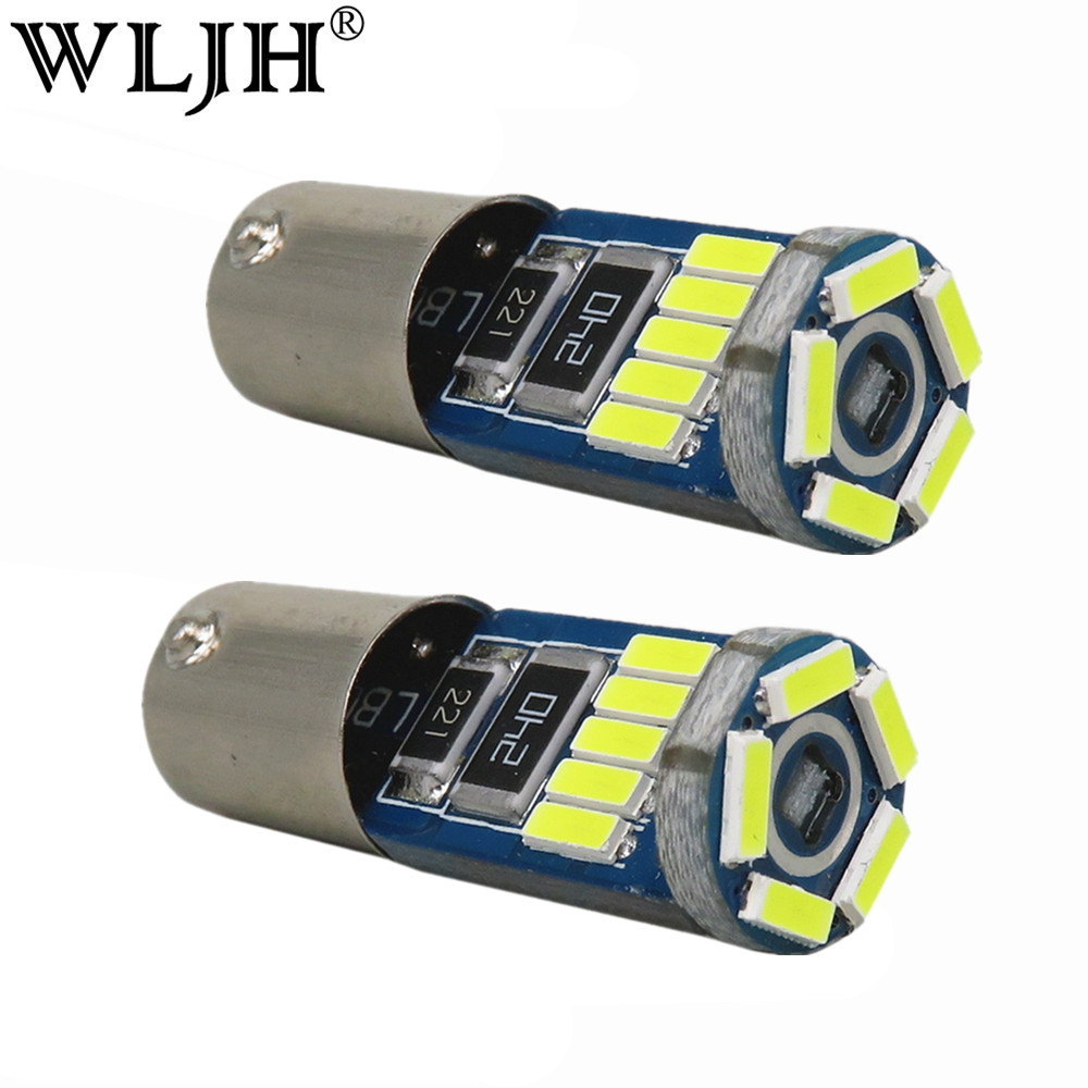 WLJH 2pcs Pure White No Error No Polarity Ba9s T4W Led Lamp 3W 4014 SMD 12V Car Instrument Parking Marker LED Lights Bulb Canbus sencart ba9s 3w 25lm 490nm 5730 smd led blue light car motorcycle lamp dc 12 16v 2pcs