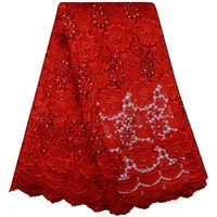 2017 Red Color Embroidered African Lace Fabric High Quality Cord Lace Guipure Lace Fabric Pearls Water