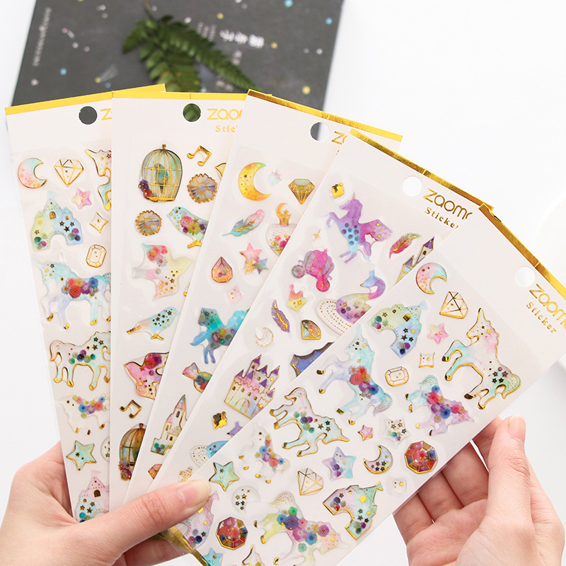 Cute Unicorn 3D Crystal Sticker Pvc Planet Decorative Stickers For Diary Phone Diy Scrapbooking Kids School Stationery