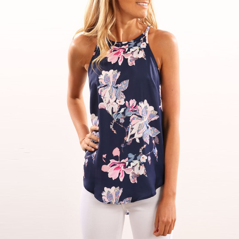 Women Floral Print T-shirts Tank Top 2018 Summer Fashion Sleeveless O Neck T Shirt Camisole Tops Causal Vest Woman Clothes