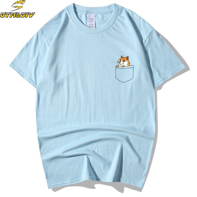 New Men And Women T-Shirts Fashion Pocket dog Summer short sleeves Tee Shirt Men T-shirt Tops