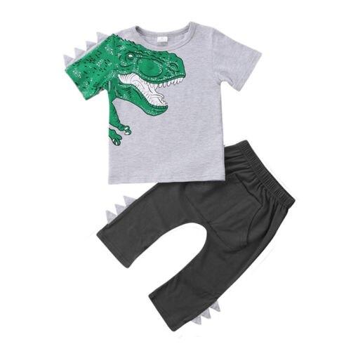 Enfants bébé garçon fille dinosaure haut décontracté t-shirt pantalon pantalon tenue ensemble vêtements enfants Enfant filles garçons t-shirt pantalon 2 pièces ensemble
