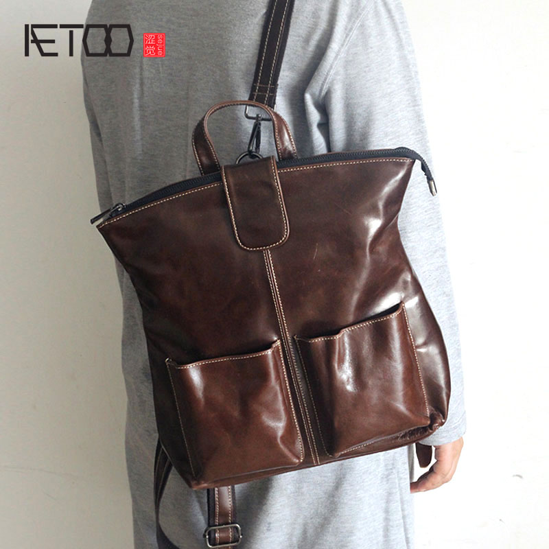 AETOO The new first layer of leather simple shoulder bag leisure fashion wild ladies backpack men leather bags aetoo first layer of leather shoulder bag female bag korean version of the school wind simple wild casual elephant pattern durab