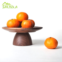 Schwarz nussbaum holz Dessert Tray Obst Platte Bonbonniere Kompott Home Ornamente Desktop Dekoration