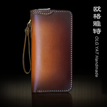 OLG.YAT handbag men wallets handmad purse long zipper Vegetable tanned genuine leather wallet mens handbags cowhide bags retro