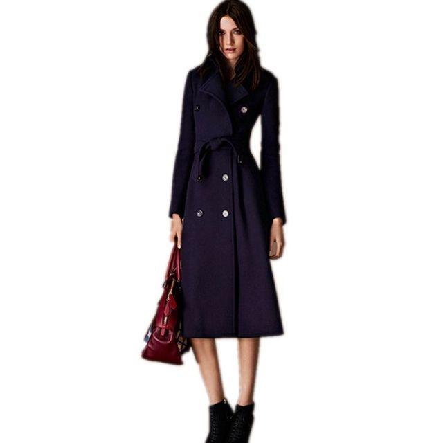 European Style Women's Woolen Coat Winter 2017 New Fashion Double Breasted Belt Women's Winter Jackets Slim Long Wool Coat F343