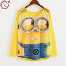 2017 long sleeve tops casual tees loose woman t shirt cartoon big eyes Minions 3D Print
