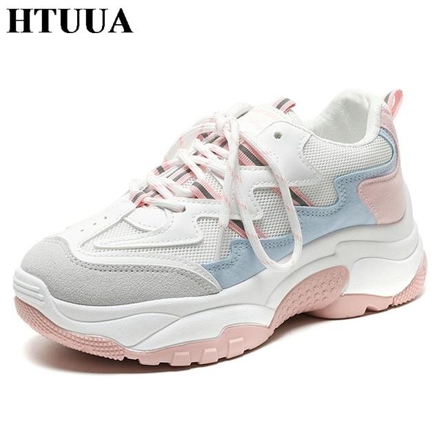 HTUUA 2019 Tasarımcı Ayakkabı Kadın vulkanize ayakkabı Kadın Siyah Pembe Beyaz Nefes Örgü Platformu Sneakers Casual Flats SX2413