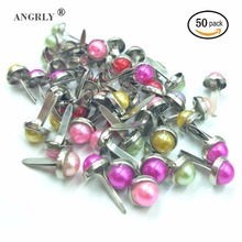 50PCs Fashion Gem Bead Mixed Pastel Round Brads Scrapbooking Card Stamping Embellishment DIY Accessories For Home Decor Craft