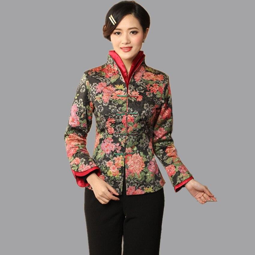 Nueva llegada v-cuello del resorte de la manera de las mujeres chinas chaqueta e