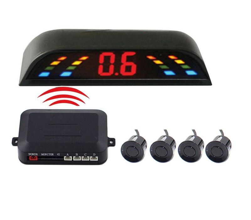 imágenes para Alarma sin hilos del coche LED sensor de aparcamiento sistema de Visión Trasera, Auto de Seguridad asistencia, Vehículo Aparcamiento Radar de Reserva 4 Sensores parktronic